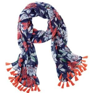 Large floral scarf with tassels